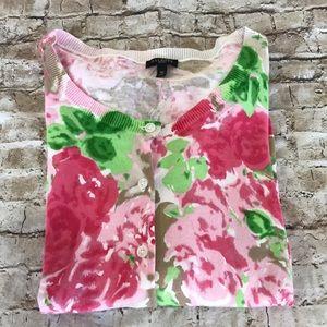 Talbots petite cardigan rose watercolor easter
